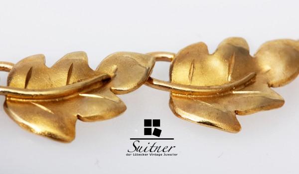 Jugendstil Kette massiv 585 Gold Blätter floral Unikat Handarbeit