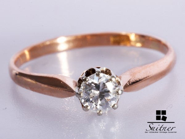 Brillant Ring 585 Roségold Gr. 55
