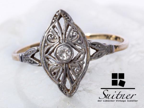 Antiker Art Deco Ring mit Diamant 585 Gold Größe 53 Schiffchen Navette