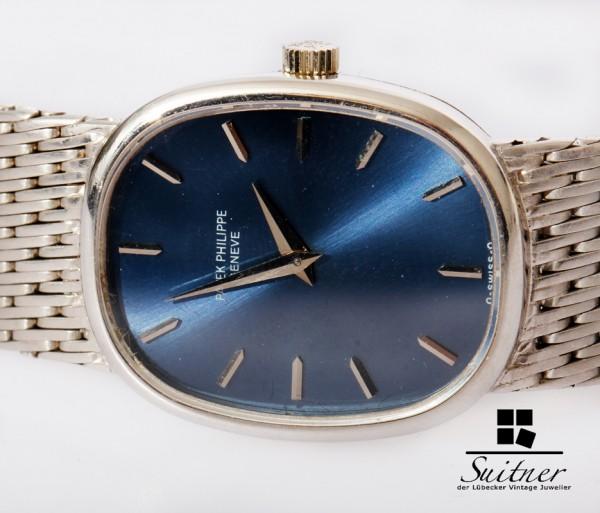 Patek Philippe Ellipse 750 Weißgold Blau - selten Handaufzug Lady