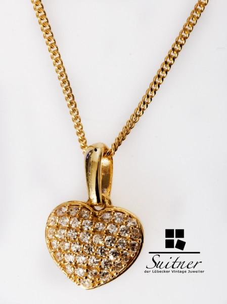 brillantes kleines 3D Herz Anhänger mit mSteinbesatz und an Kette - Gold