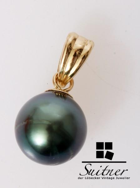 kleiner Tahiti Perlen Anhänger rund 585 Gold - Grau Schwarz Grün
