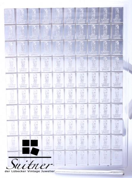 Münzbarren 100 x 1gr. Silberbarren Cook Islands 10 cent 2012 Verschweißt
