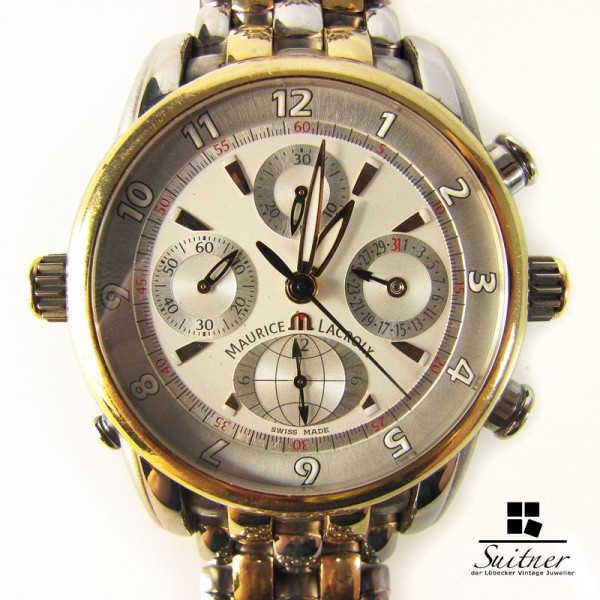 Maurice Lacroix Masterpiece Chrono Globe Re. MP 6398 Stahl 750 Gold