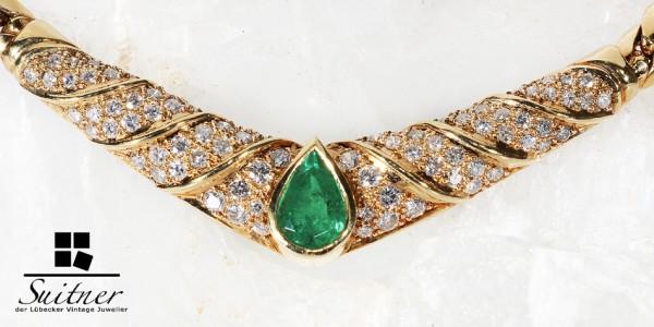 hochwertiges Smaragd und Brillant Collier