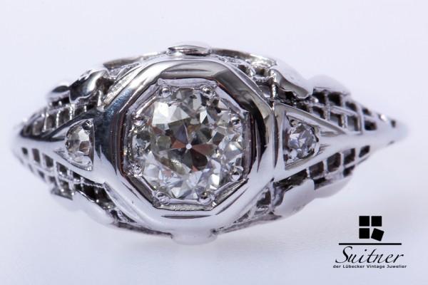 Art Deko Ring 585 Weißgold 1 Altschliff Diamant ca. 0,50 ct
