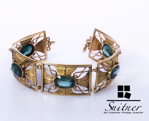 imposantes XL im Jugendstil Turmalin Armband 585 Gold Handarbeit Art Nouveau
