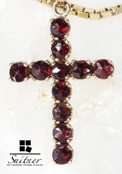 antikes Granat Kreuz aus Gold - Böhmen Bohemia Cross Pendant