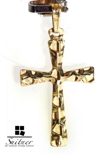 plastisches Designer Kreuz Anhänger aus 750 Gold schönes Design