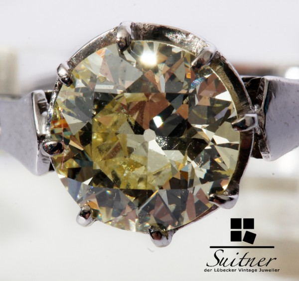 wertvoller antiker 1,70ct. Diamant Ring im Altschliff 585 WG Gr. 62 Solitär