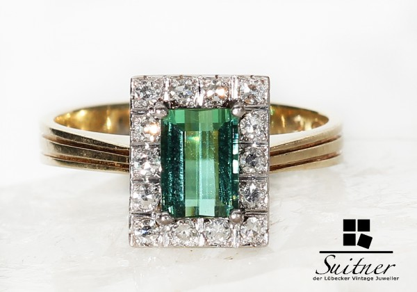 Art Deco Turmalin und Diamant Ring