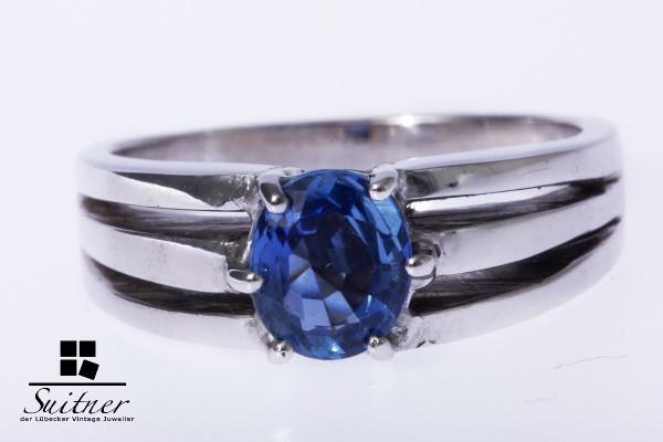 Ring Weißgold Gold 585 Saphir ca. 1,1 ct. kornblumenblau Gr. 55
