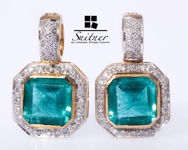 Perlenclip Anhänger mit synth. Smaragd Diamanten 585 Gold
