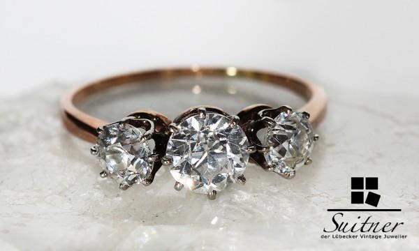 wertvoller antiker 2,00ct. Ring Jugendstil 3 Altschliff Diamanten 585 Gold