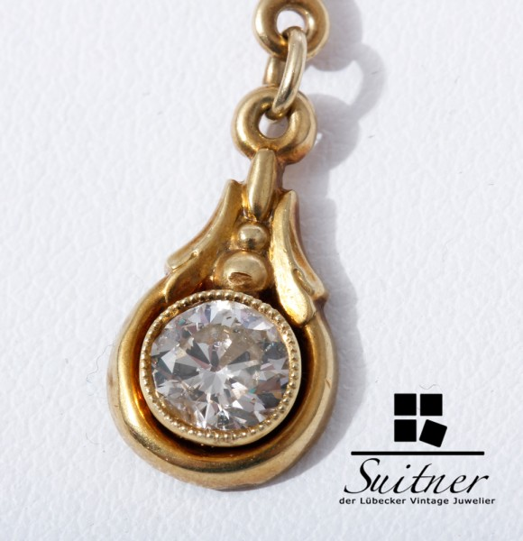 wertvolle 0,60ct Brillant Kette 585 Gold Pendant im Art Nouveau Stil