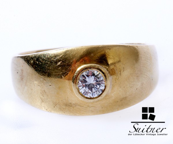 breiter Solitär Brillant Ring 750 Gold Gr. 57 massiv XL