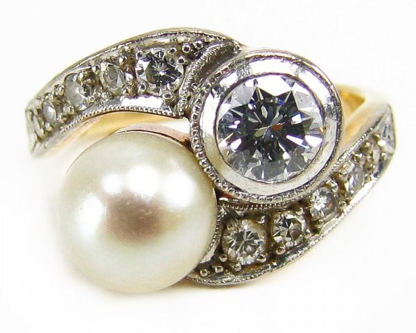 Art Deko Brillant Ring 585 Gold zus. ca. 0,75 ct. Halbkaräter Gutachten 4300,-€ Gr. 47