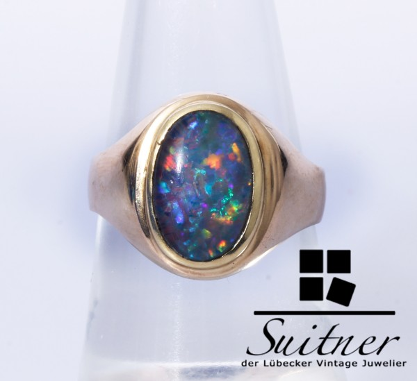 Opal Ring aus 585 Gold im Stil Siegelring Oval massiv Größe 54