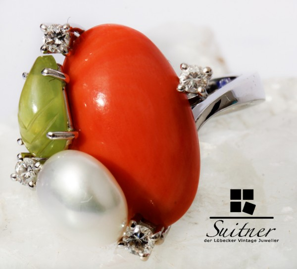 Otto Klein Unikat Hanau Ring mit Koralle Perle Peridot 750 Weißgold Blatt floral