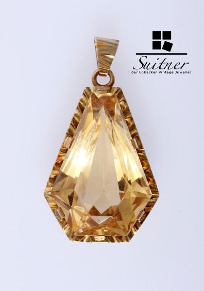 prächtiger Citrin Anhänger aus 585 Gold - feiner gelber Farbton - großer Stein