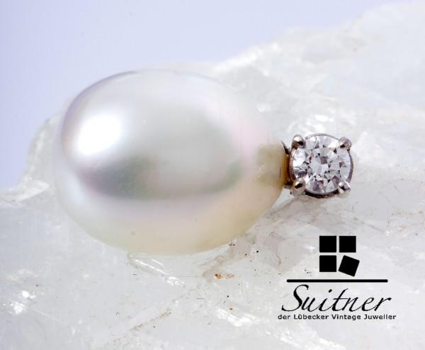 Design Süßwasser Perlen Anhänger mit Brillant 0,23ct in 750 Weißgold