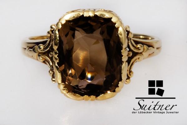 Antiker prächtiger Ring aus 585 Gold mit Rauchquarz Ring Braun Jugendstil Gr. 51
