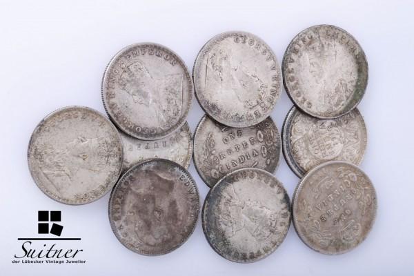 Sammlung Münzen Indien 10 Stück 1 Rupie Silber selten und hoher Wert