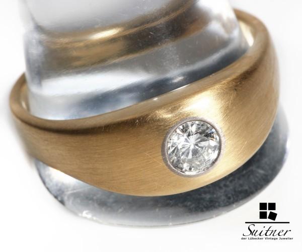 wertvoller Herren Solitär Ring Brillant mit 0,50ct aus 585 Gold Gr. 68 Gutachten