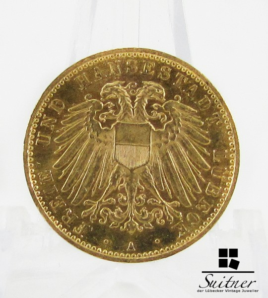 10 Mark Gold Hansestadt Lübeck 1910 A