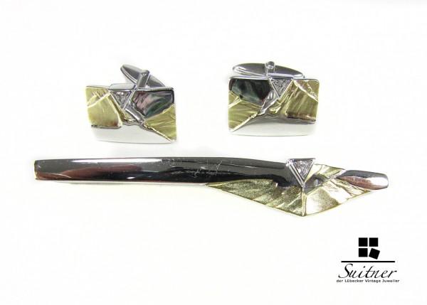 Manschettenknöpfe Silber Gold Set Krawattennadel 925 Design Diamanten