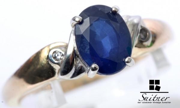 klassischer Kaschmir Saphir Ring 750 Gold Gr. 53,5