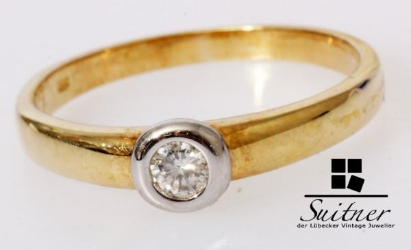 klassischer Solitärring 0,17ct Brillant Ring 585 Gold Gr. 63 Verlobung Ehe