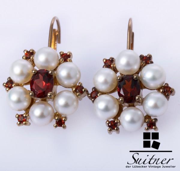 prächtige Ohrhänger mit Granat und Perle aus Gold Rot Antik Blume