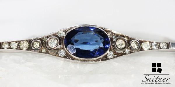große antike Brosche Art Deco mit Steinbesatz Stabbrosche wie Saphir Diamant