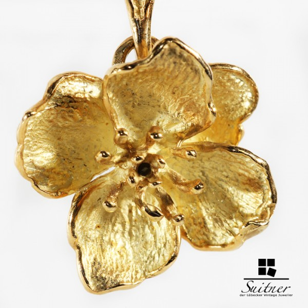 Ghia Blumen Anhänger aus 750 Gold