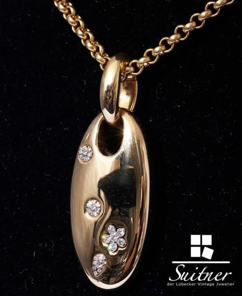 XXL Wempe BY KIM Kette mit Anhänger Madaillon Brillanten Blüten 750 Gold