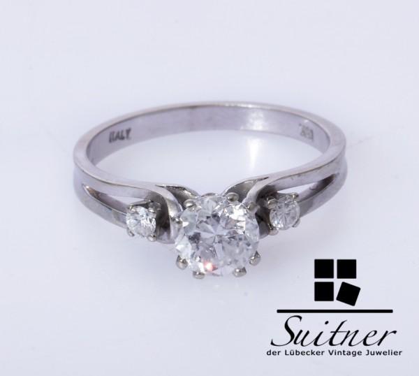 Brillant Ring mit 1,05ct 750 Weißgold Gr. 56 Einkaräter Verlobungsring Klassiker