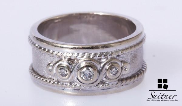 großer Brillant Ring 375 Weißgold Bandring mit Verzierungen