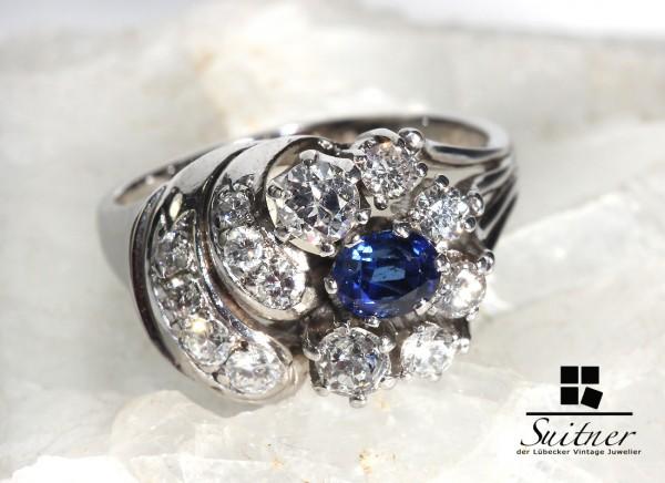 wertvoller 1,40ct. Jugendstil Saphir Brillant 585 Weißgold Ring Gr 60 Art Nouveau