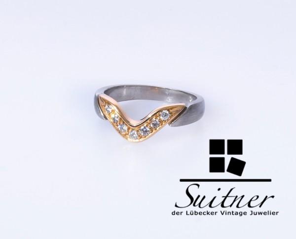 Unikat 950 Platin Ring Brillanten 750 Roségold Gr. 49,5 Gold Luxus