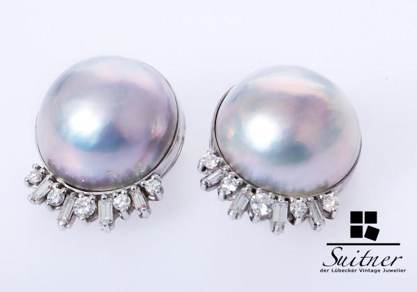 XL Mabe Perlen Clips mit Brillanten Diamanten 750 Weißgold NP 6500,-