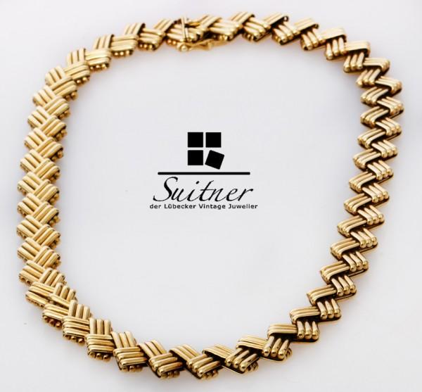 Art Deco Collier in Staboptik beweglich meisterliche Handarbeit 585 Gold 44cm