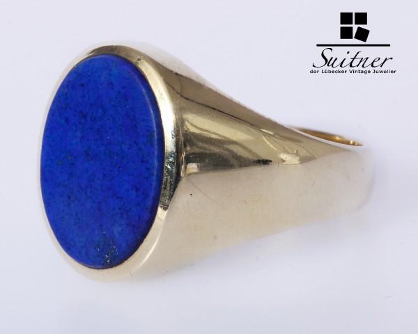 Ring Siegelring 585 Gold Herren Lapislazuli Gr. 66