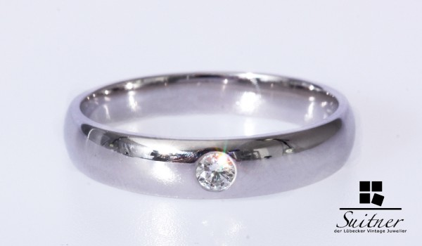 Ring Brillant Weißgold 375 0,08 ct. Verlobung 60 Ehering NEU