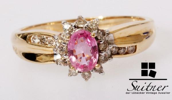 Pinker Saphir Ring mit Brillanten 585 Gold Gr. 56 Klassiker Entourage