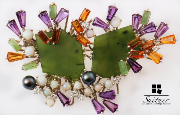 Vintage Nephrit Brosche Amethyst Perle Diamant Citrin Opal 585 Weißgold XL