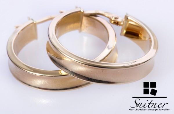 zeitlose große 585 Gold Creolen XL Design Ohrringe breite gekehlt