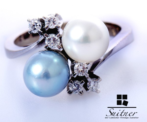 traumhafter Tahiti Perlen Brillant Ring 585 Weißgold Gr. 52