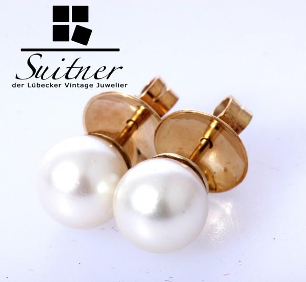 Zuchtperlen Perlen Ohrstecker 9mm Perle 585 Gold klassisch Must have