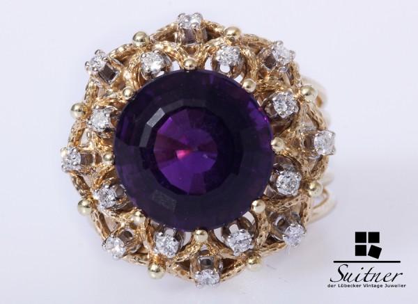 prachtvoller Amethyst Ring Brillanten zus. ca. 0,16 ct. 585 Gold opulent Gr. 57 XL